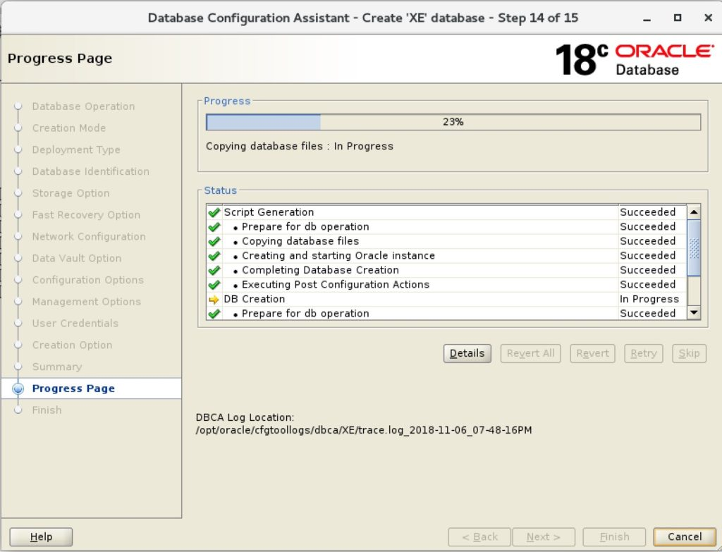 Oracle 18c Express Edition: How to create a Non-Container-Database